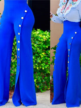 Plain Skinny Button High Waist Wide Legs Casual Pants
