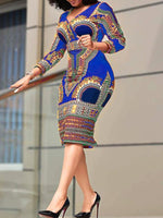 Print Three-Quarter Sleeve Mid-Calf Summer Geometric Dress
