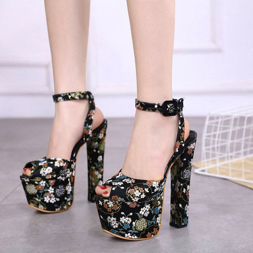 Buckle Chunky Heel Ankle Strap Peep Toe Floral Casual Sandals