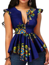 Print Color Block Mid-Length Sleeveless Blouse