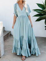 V-Neck Half Sleeve Floor-Length A-Line Fashion Dress