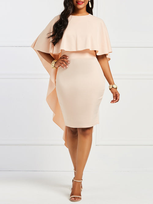 Round Neck Patchwork Half Sleeve Bodycon Plain Dress