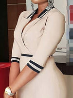 Three-Quarter Sleeve Patchwork Knee-Length Pullover Office Lady Dress