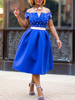 Short Sleeve Bead Mid-Calf A-Line Off-The-Shoulder Dress