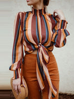 Print Stripe Standard Long Sleeve Blouse