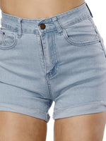 Plain Straight Straight Mid Waist Shorts