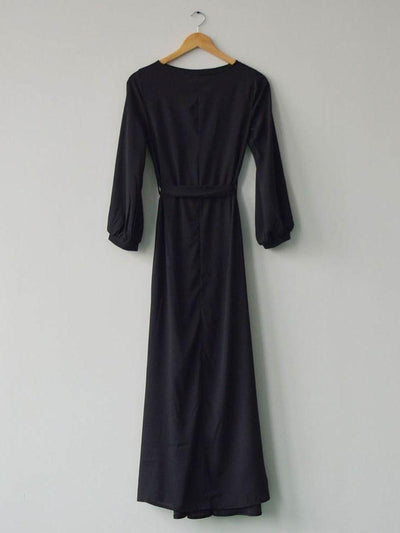 Three-Quarter Sleeve Floor-Length Pocket Lantern Sleeve Pullover Dress