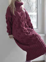 Turtleneck Mid-Calf Long Sleeve Korean Pullover Dress