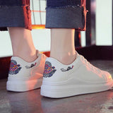 Round Toe Lace-Up Casual PU Sneakers