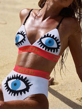 Patchwork Color Block Beach Look Swimwear