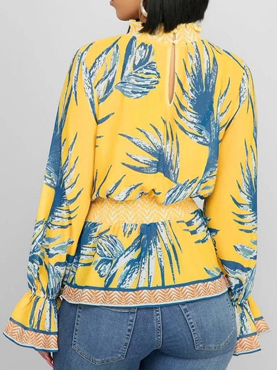 Plant Print Stand Collar Long Sleeve Standard Blouse