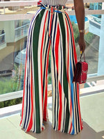 Loose Color Block Full Length Wide Legs Casual Pants