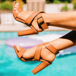 Open Toe Buckle Chunky Heel Ankle Strap Buckle Casual Sandals