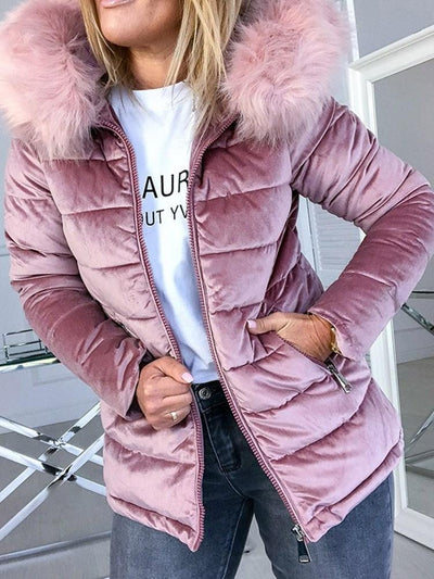 Thick Zipper Lace-Up Standard Cotton Padded Jacket