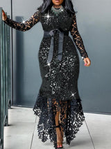 Long Sleeve Lace Floor-Length Standard-Waist Asymmetrical Dress