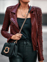 Loose Zipper PU Fall PU Jacket