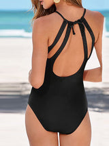 Plain One Piece Lace-Up Swimwear