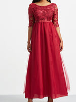 Round Neck Floor-Length Zipper Mid Waist Regular Dress