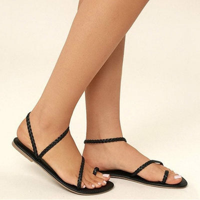 Slip-On Block Heel Toe Ring Professional Plain Sandals