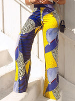 Color Block Print Slim High Waist Full Length Casual Pants