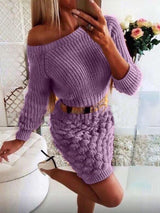 Long Sleeve Round Neck Above Knee Raglan Sleeve Casual Dress