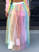 See-Through Color Block Floor-Length Western Skirt