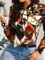 Color Block Print Long Sleeve Standard Blouse