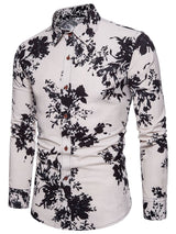 Patchwork Floral Lapel Single-Breasted Winter Shirt