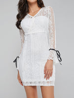 Above Knee Long Sleeve Lace Bodycon Pullover Dress