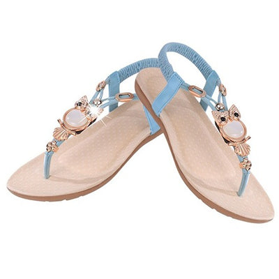 Ankle Strap Slip-On Thong Low-Cut Upper Plain Sandals