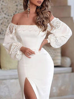 Above Knee Lace Long Sleeve Sexy Lantern Sleeve Dress