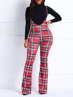 Print Loose Plaid Full Length Wide Legs Casual Pants