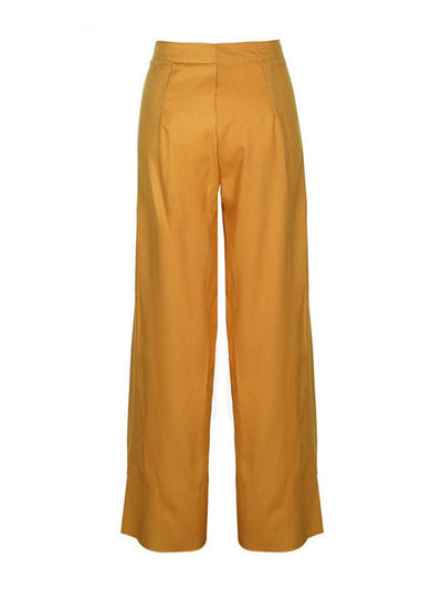 Plain Loose Pleated Wide Legs Full Length Casual Pants