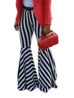 Print Stripe Slim Full Length Bellbottoms Casual Pants