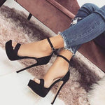 Open Toe Stiletto Heel Line-Style Buckle Heel Covering Low-Cut Upper Casual Sandals