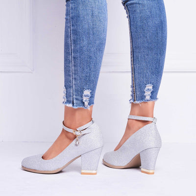 Chunky Heel Line-Style Buckle Round Toe 7cm Plain Thin Shoes