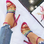 Stiletto Heel Open Toe Buckle Ankle Strap Color Block Casual Sandals