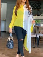 Lapel Color Block Patchwork Long Long Sleeve Blouse