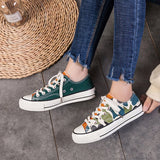 Lace-Up Low-Cut Upper Lace-Up Round Toe Camouflage Cloth Sneakers