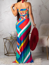 Floor-Length Sleeveless Print Off-The-Shoulder Bodycon Dress