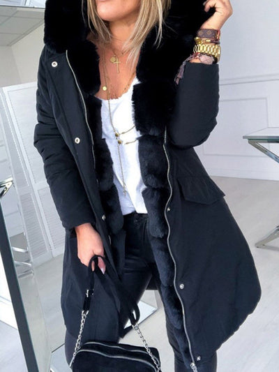 Hooded Zipper Patchwork Casual Loose Trench Coat
