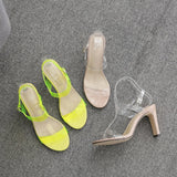 Slingback Strap Open Toe Buckle Chunky Heel Plain Casual Sandals