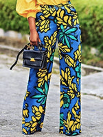 Slim Print Floral Wide Legs Full Length Casual Pants