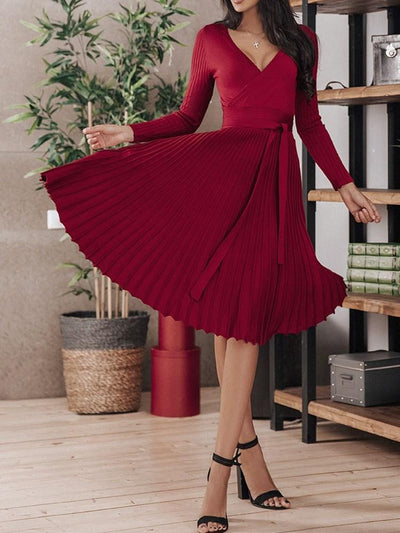Pleated V-Neck Mid-Calf Plain Standard-Waist Dress