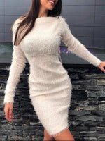 Off Shoulder Above Knee Long Sleeve Pullover Winter Dress