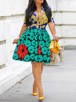 Print V-Neck Short Sleeve High Waist Pullover Dress