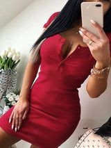 Short Sleeve V-Neck Patchwork Bodycon Fall Dress