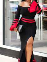 Ankle-Length Patchwork Long Sleeve Bodycon Elegant Dress