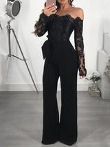 Casual Full Length Lace-Up Slim Wide Legs Jumpsuit