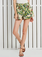 Plant Print Wide Legs High Waist Loose Shorts